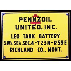 Pennzoil United Inc. Porcelain Enamel Sign