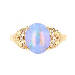Australian Lightning Ridge Opal Diamond 14K Ring