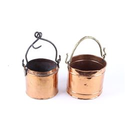 19th C. Copper Dovetail Hanging Kettle Pair