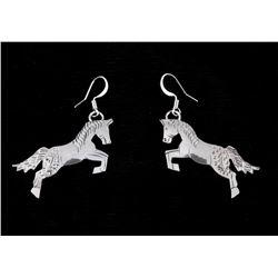 Navajo L. Yazzie Sterling Silver Horse Earrings
