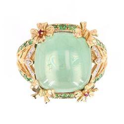 Green Amethyst w/ Ruby & Emeralds in 14K Gold