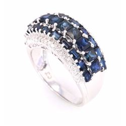 Blue Sapphire (4.21ct) and Diamond 10K Ring