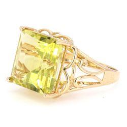 Lemon Quartz (12.14ct) 14K Gold Ring