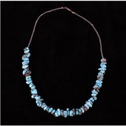 Turquoise Nugget & Hematite & Silver Bead Necklace