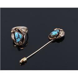 Navajo 12k Gold Fill & Turquoise Pin & Ring