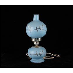 Antique Blue Glass w Flower Design Electric Lamp