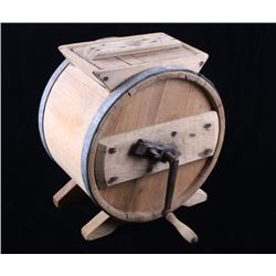 Mid 1900's Rotary Wooden Barrel Butter Churn
