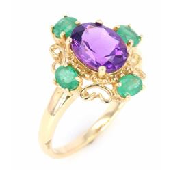 Amethyst & Emerald Vintage Style 14K Gold Ring