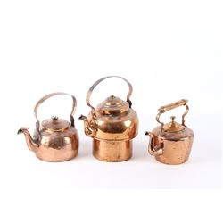 Collection of Dovetail Copper Kettles Circa 1900s