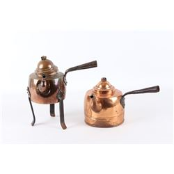 Pair of Dovetail Copper Kettles w/ Iron Handles