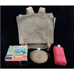 Canvas Outdoor Boy Scout Backpack & Canteens