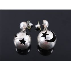 Navajo Moon & Stars Sterling Concho Pearl Earrings