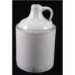 White Ceramic Whiskey Stoneware Pottery Jug