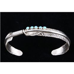 Sterling Silver Feather Cuff Bangle Bracelet Solid 4.11g