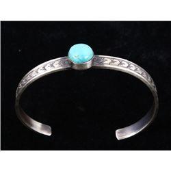 Navajo R. Enriquez Silver & Kingman Turquoise Cuff