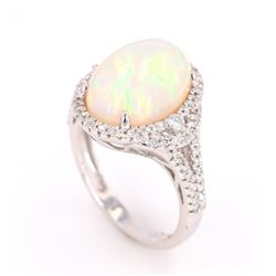 Ethiopian Opal (4.14ct) & Diamond 14K Gold Ring