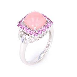 Pink Opal & Purple Sapphires set in 14K Gold