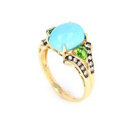 Turquoise, Tourmaline and Diamond 10K Ring