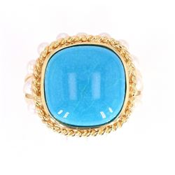 Gem Quality Turquoise and Seed Pearl 14K Ring