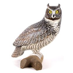 Hand Carved & Painted Great Horned Owl