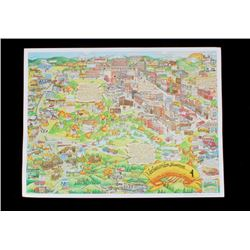 Livingston Montana Pictorial Map Poster 1988