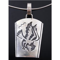 Navajo T. Singer Sterling Eagle Pendant Necklace
