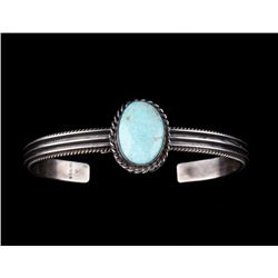 Navajo Sterling Silver & Royston Turquoise Cuff