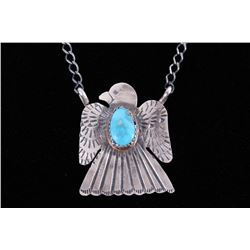 Navajo Tim Yazzie Sterling Thunderbird Necklace