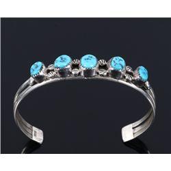 Navajo Morenci Turquoise Sterling Silver Bracelet
