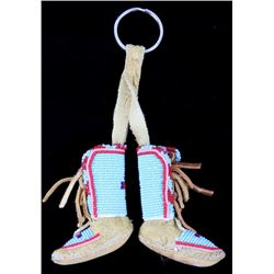 Montana Crow Beaded Miniature Moccasin Key Chain