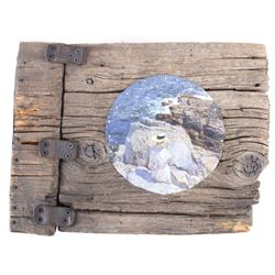 Driftwood Sketch Pad Cover with Tin Sea Painting