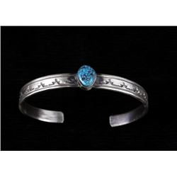 Navajo Sterling Silver & Kingman Turquoise Cuff