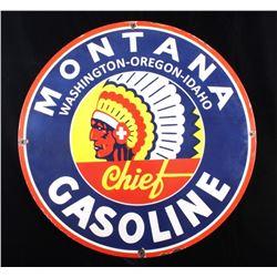 Montana Chief Gas Porcelain Enamel Sign Re-Make