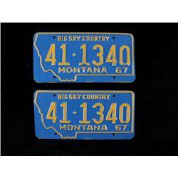 "1967 ""Big Sky Country"" Montana License Plate Pair"