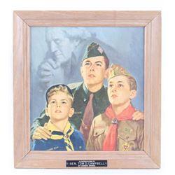 Signed Wilbur Boy Scout & Washington Framed Print