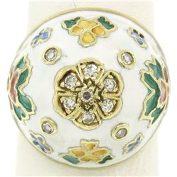 Antique 14K Yellow Gold Diamond White Blue Green Yellow Enamel Dome Floral Ring