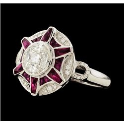 1.10 ctw Ruby and Diamond Ring - 18KT White Gold