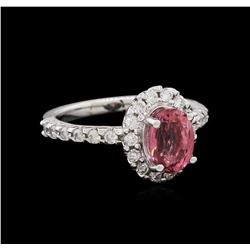 1.70 ctw Pink Tourmaline and Diamond Ring - 14KT White Gold