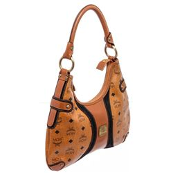 MCM Cognac Visetos Coated Canvas Suede Small Hobo Bag