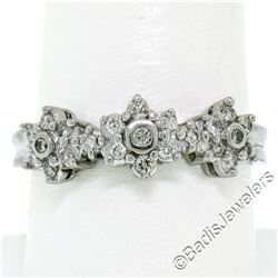 New 14kt White Gold 0.60 ctw Round Brilliant Diamond 3 Flower Cluster Ring