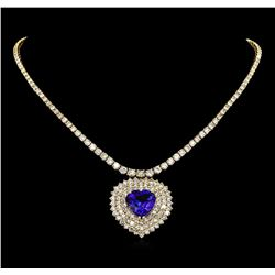 14KT Yellow Gold 13.62 ctw Tanzanite and Diamond Necklace
