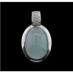 24.19 ctw Quartz and Diamond Pendant With Chain - 18KT White Gold