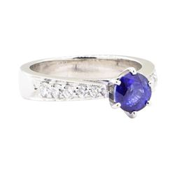 1.52 ctw Sapphire And Diamond Ring - 18KT White Gold