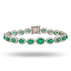 7.50 ctw Emerald and 2.42 ctw Diamond 18K White Gold Bracelet
