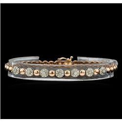 0.75 ctw Diamond Bracelet - 14KT Rose and White Gold