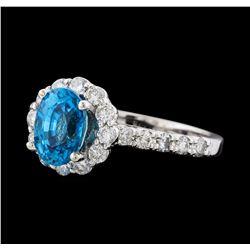 2.34 ctw Blue Zircon and Diamond Ring - 14KT White Gold