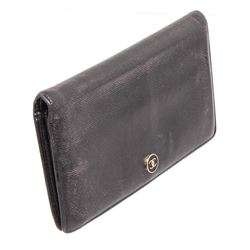 Chanel Black Sevruga Leather CC Yen Wallet