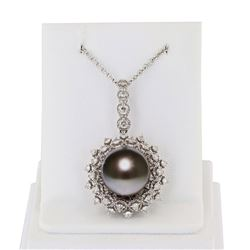 12.5mm Tahitian Pearl and 0.73 ctw Diamond 18K White Gold Pendant/Necklace