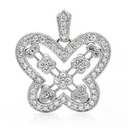 14k White Gold 0.58CTW Diamond Pendant, (I1/G-H)