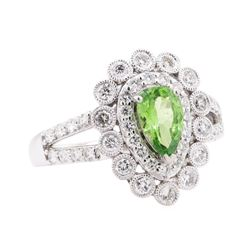 1.28 ctw Tsavorite and Diamond Ring - Platinum